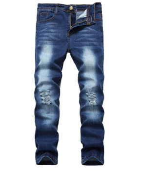 Boy's Skinny Fit Ripped Distressed Stretch Slim Jeans Pants