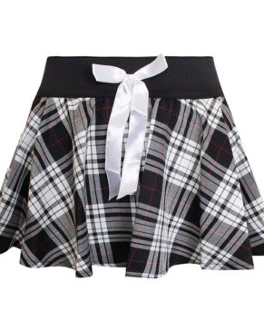 Girls Mini Bow Tartan Skirt 5-10 Years (Black and White)