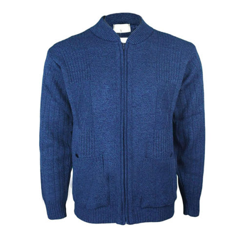 Mens-Classic-Zip-Up-Vintage-Plain-Knitted-Grandad-Cardigan