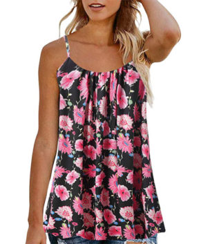 Summer Tank Tops Lady Strappy Button Ruffle