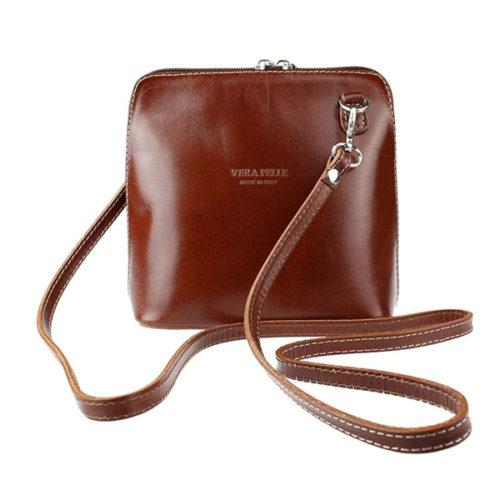 Genuine Vera Pelle Women Cross body Italian Leather Small Mini Shoulder Bag Handbag