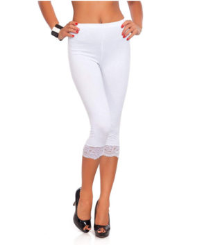 Cropped 3/4 Length Cotton Leggings with Lace