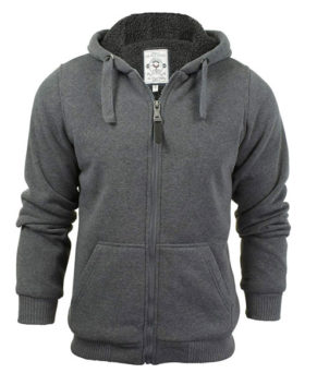 Mens Brave Soul Zone Zip Up Sherpa Lined Hooded Jacket