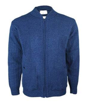 Mens Classic Zip Up Vintage Plain Knitted Cardigan