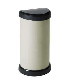 Metal Effect Plastic One Touch Deco Bin, Ivory, 40 Litre