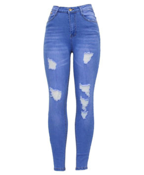 Womens High Waisted Ripped Skinny Denim Pencil Jeans