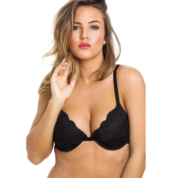 Womens Black Floral Lace Push Up Underwired Bra