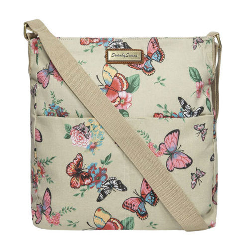 Casper Butterfly Print Crossbody Bag in Beige